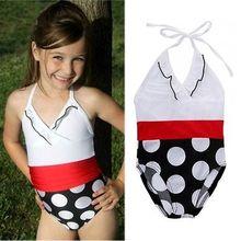 Girls Big Dot One-Piece Suits Swimsuit Bikini Swimwear Beach Bathing Swimming Bather Costume 2-7 Years