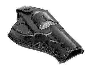 Image 1 - HEIßER! Leder Revolver Holster (Kurze) Outdoor Jagd Airsoftsports Militärische Taktische Rechts hand Polizei pistole Holster Schwarz