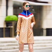 XF 1009 16 2018 New Runway Designer Autumn Casual Sports High Quality Women CC Print High Collar Long Sleeve Zipper Dress
