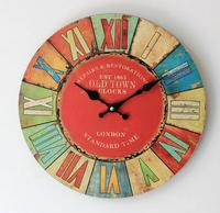 35cm Digital Vintage Wooden Wall Clock Retro Style Crafts For Cafe Kitchen Colorful Printing Home Decor