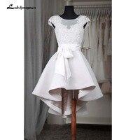 Short High Low Evening Dresses Cap Sleeve Robe De Soiree Party Evening Dress Puffy White Prom Dress Elastic Fabric