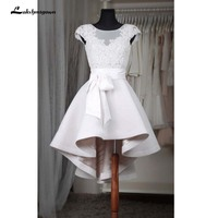Short High Low Evening Dresses Cap Sleeve Robe De Soiree Party Evening Dress Puffy White Prom Dress Elastic Fabric