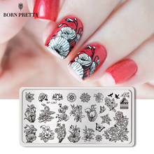 BORN PRETTY Geometrical Nail Stamping Template London Style Fashion Girl Rectangle Plate Manicure Nail Art Image Plate(China)