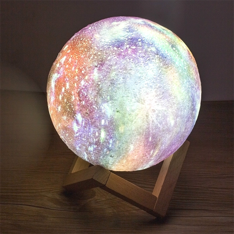3DPrint Moon Lamp USB Rechargeable with Galaxy Starry Sky 2Color Bedroom desk Night Light Decor Creative Luminaria colour bulbs