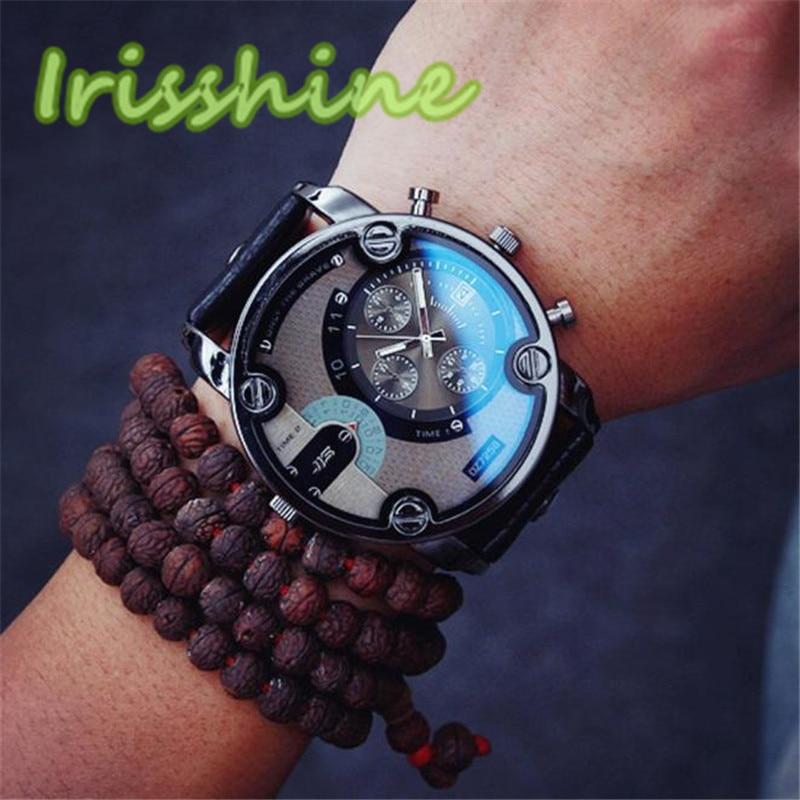 Irissshine 0103 man watches Fashion Casual Men Leather Quartz Analog Wrist Watch Watches
