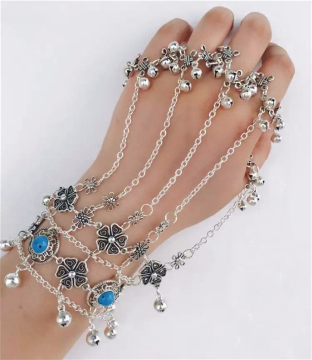 2 Colors Bohemian Silver Blue Resin Bead Tassel Bracelets & Bangles Antalya Gypsy Hollow Out Flower Bells Bracelet Women Jewelry