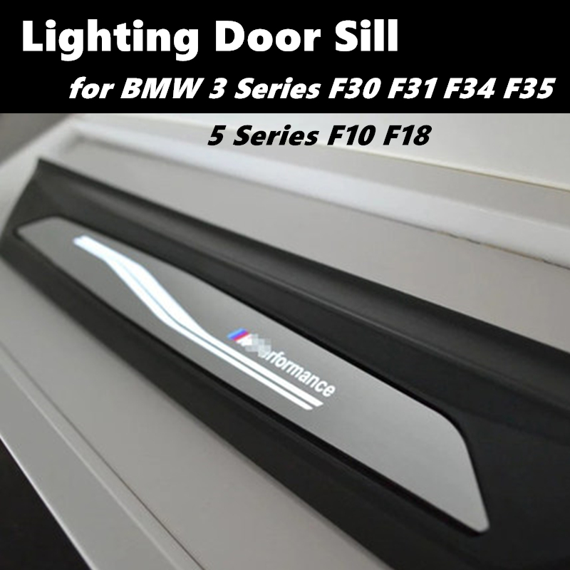 Highitem Blue LED light 4 Door Stainless Steel Scuff Plate Door Sill Entry Guard for Dodge Ram 1500 2500