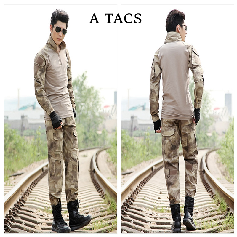 For Men Tactical Uniform Set Hiking Shirt Pants W/ Knee & Elbow Pads A TACS Military Hunting Training Uniform Sets Combat Suits
