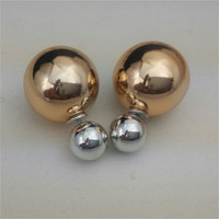New Fashion Celebrity Double Pearl Earrings Two Sided Pearl Stud Gold Color Ear Stud Charm Jerwelry Free Shipping
