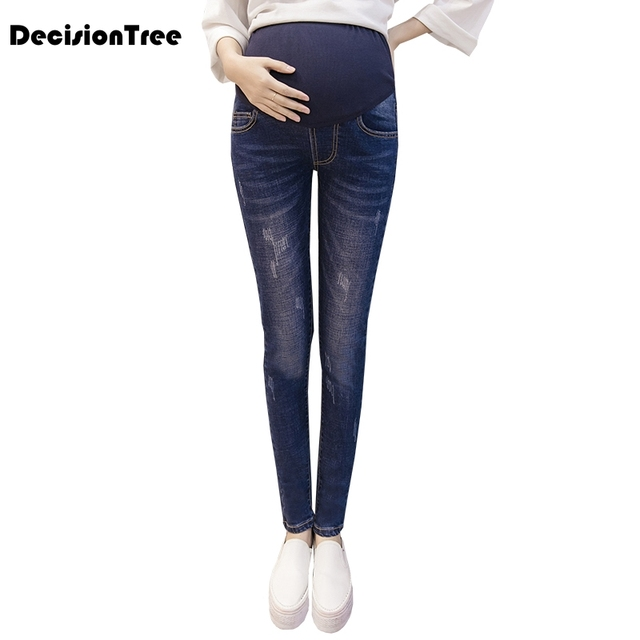 07a00856d930a 2019 new elastic waist hole stretch denim maternity belly jeans pants  clothes for pregnant women pregnancy pencil trousers