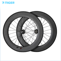 7 TIGER bike Road Carbon Disc Brake 88mm Clincher Carbon Road Bicycle Wheelset Carbon Road Bike Wheels With 23mm 24 and 24h