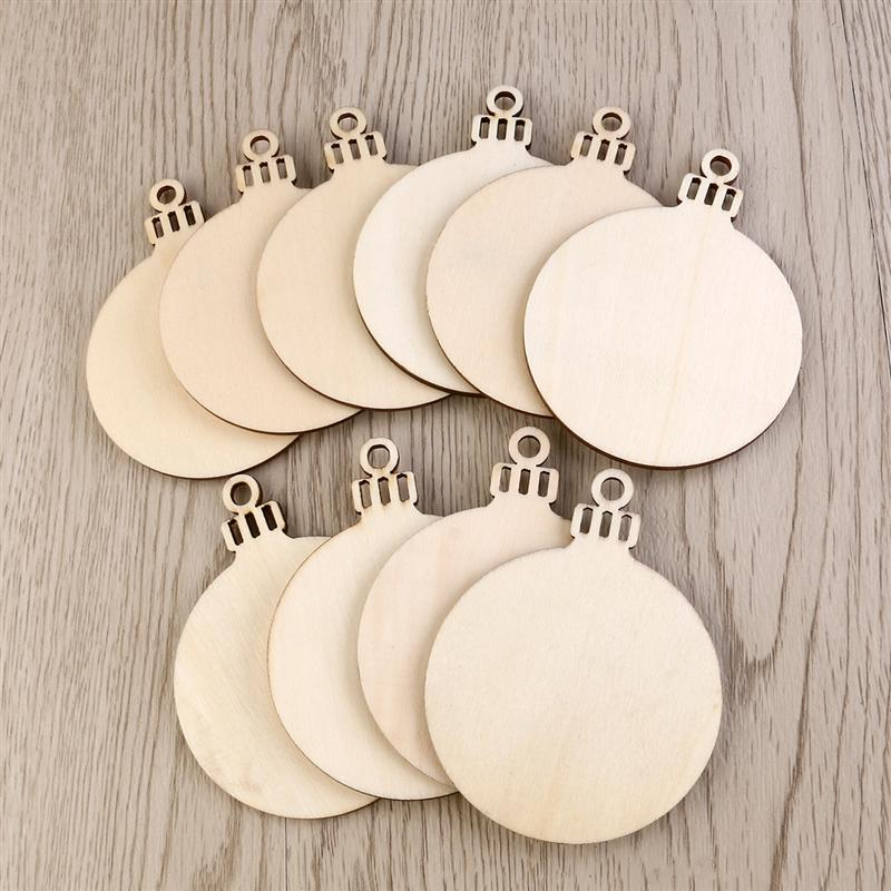 10pcs Round Shape Natural Wooden Ornament Hanging Christmas Tree DIY Wood Crafts With Hole Home Decorations Gift Tag A3
