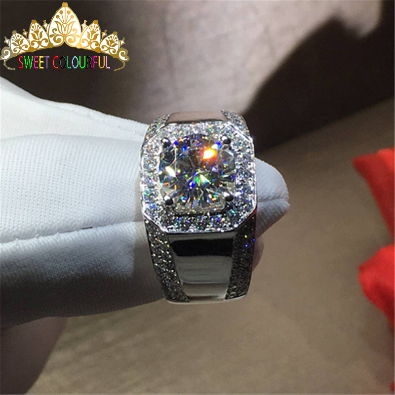 100% 18 k 750Au Gold Moissanite Diamond man Ring D kleur VVS Met nationale certificaat MO 0011-in Ringen van Sieraden & accessoires op  Groep 1