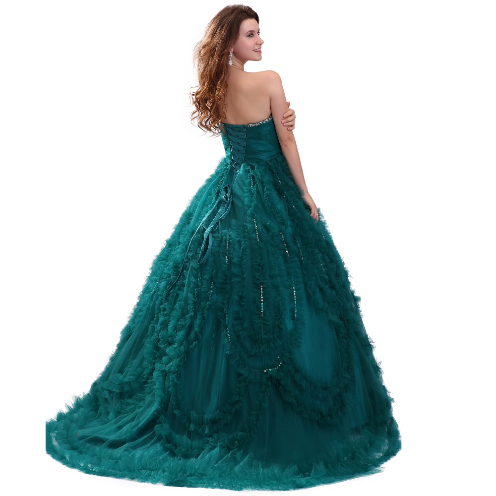 Party Dresses Crystals Vestido Quinceanera Dress 2018 Turquoise ...