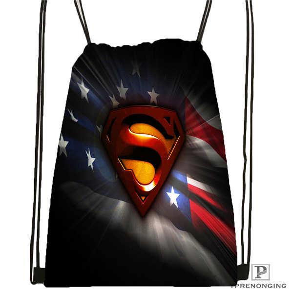 Custom Superman    Drawstring Backpack Bag Cute Daypack Kids Satchel (Black Back) 31x40cm#180612-02-9
