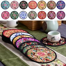 Round Embroidered Cloth Coasters Vintage Ethnic Floral Design Teacup Mat for Drinks 10Pcs