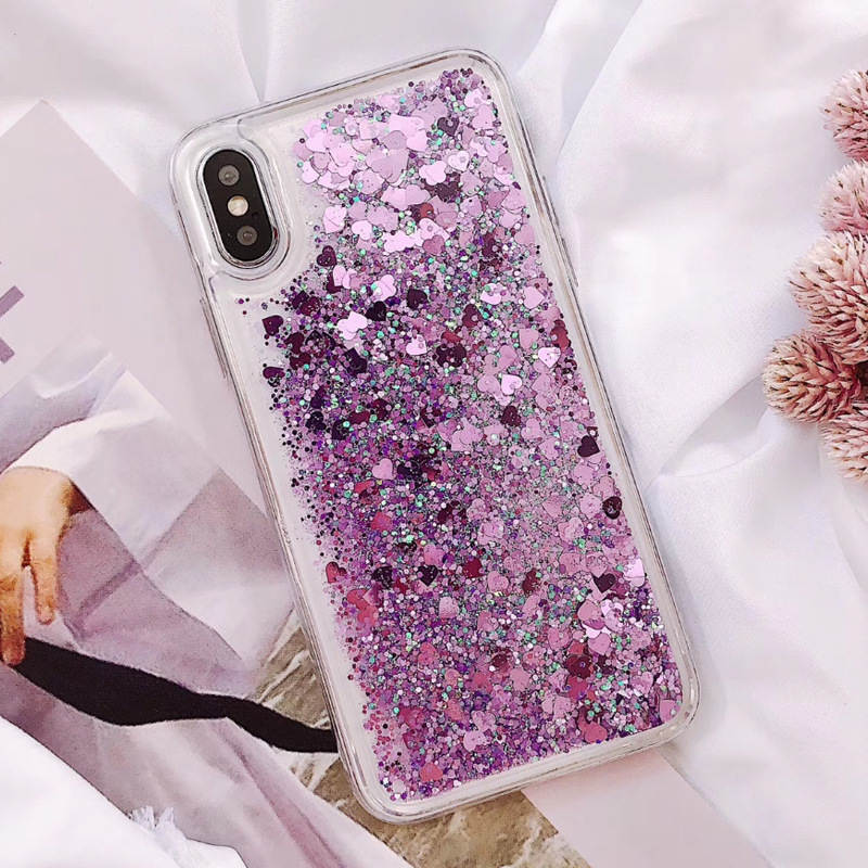 For <font><b>Huawei</b></font> Y5 Y6 <font><b>Y7</b></font> Y9 Prime 2018 Cute Shiny Love Heart <font><b>Glitter</b></font> Bling Sequin <font><b>Case</b></font> Cover For Y9 <font><b>2019</b></font> Soft Silicone TPU Coque Capa image