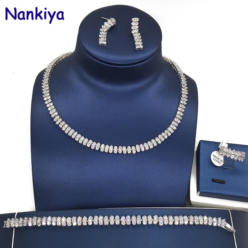 Nankiya classique mode nuptiale mariage ensembles de bijoux étincelant AAA zircone pavé Dubai 4 pièces ensemble bijoux pour femmes Prom NC001
