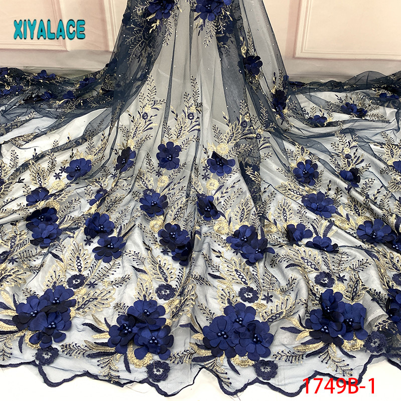 Nigerian Beaded Lace Fabric 2019 High Quality African 3D Net Lace Fabric Wedding French Tulle Lace Material For Dress YA1749B-1
