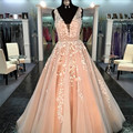 Real Photo Appliques Lace A-Line Prom Dresses Sexy Orange V-neck Sleeveless Graduation Party Gowns Princess Long Prom Dress 2017