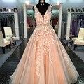 Real photo a linha de apliques de renda vestidos de baile sexy orange v-neck mangas vestido de festa de formatura vestidos de princesa longo vestido de baile 2017
