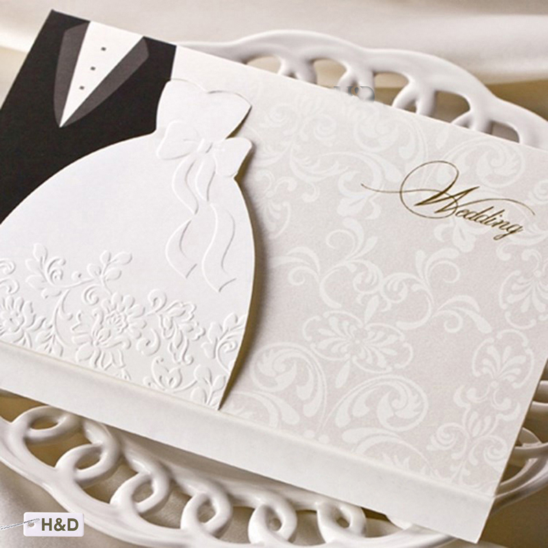 1pcs Sample Laser Cut Wedding Invitations Cards Western Groom & Bride Customize Printable Envelopes Seals Wedding Party SupplIes 1pcs sample laser cut bride and groom marriage wedding invitations cards greeting cards 3d cards postcard event party supplies