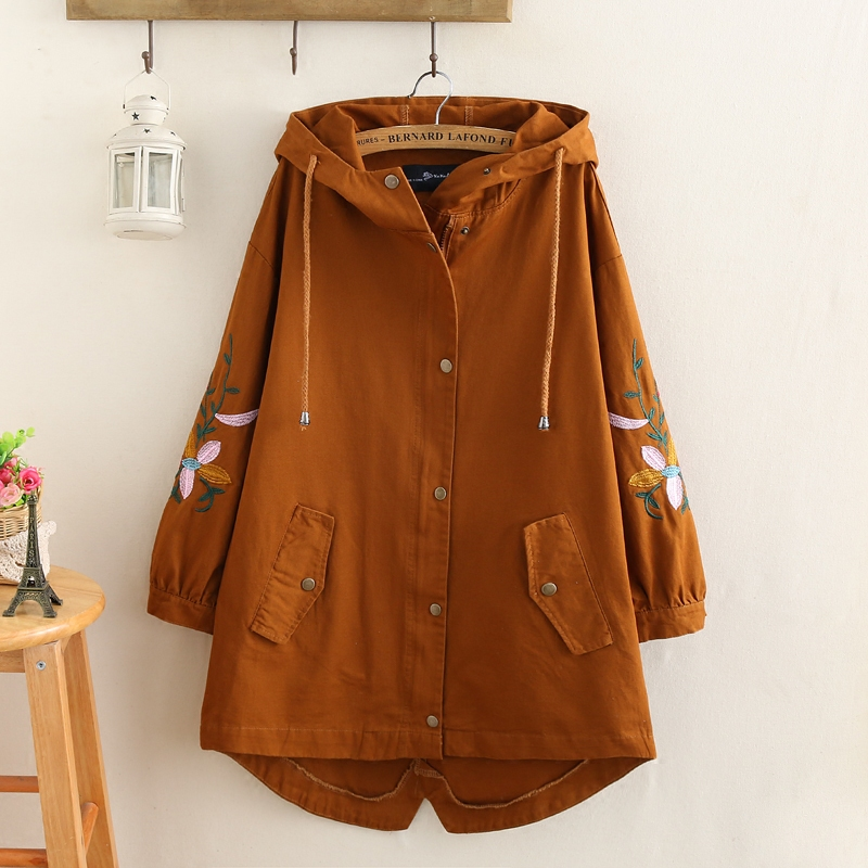 Plus Size Women   Trench   Coat 2019 Spring Loose Hooded Pocket Zipper Seven-Point Sleeve Embroidered Windbreaker Female Outerwear
