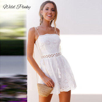 WildPinky 2020 Sexy Deep V-neck White Lace Playsuit Women Strap Jumpsuit Romper Backless Summer Beach Overalls