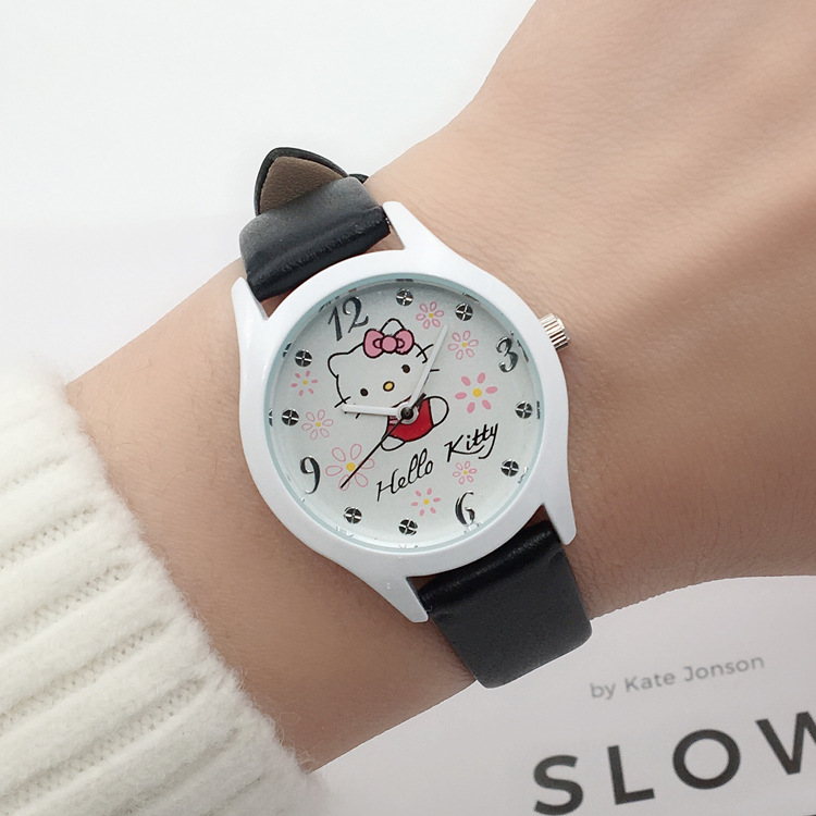 Cute children cartoon hello Kitty watch girl student wrist watch girl girl watch fashion waterproof quartz electronic watch(China)