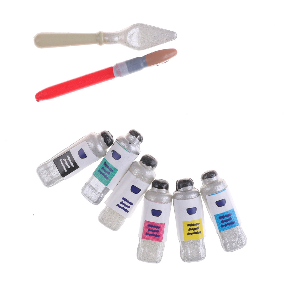 Mini Dollhouse Miniature Painting Brush Set For Kids Color