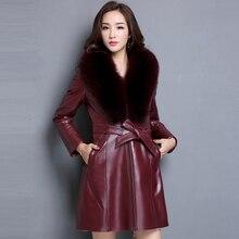 Ptslan Women's Real Leather Jacket  Fashion Bright Colors Black  Coat  Long Coat  Female Wool liner Fox Fur Collar