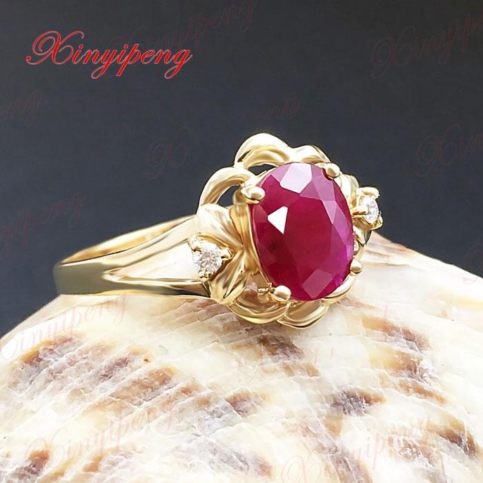18 Karat Gold eingelegten natürlichen Rubinring Frauen Diamant A - Edlen Schmuck - Foto 5