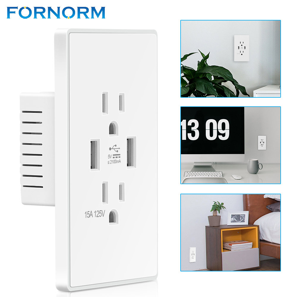 FORNORM Dual USB Port Wall Outlets Universal Standard USB Rated ...
