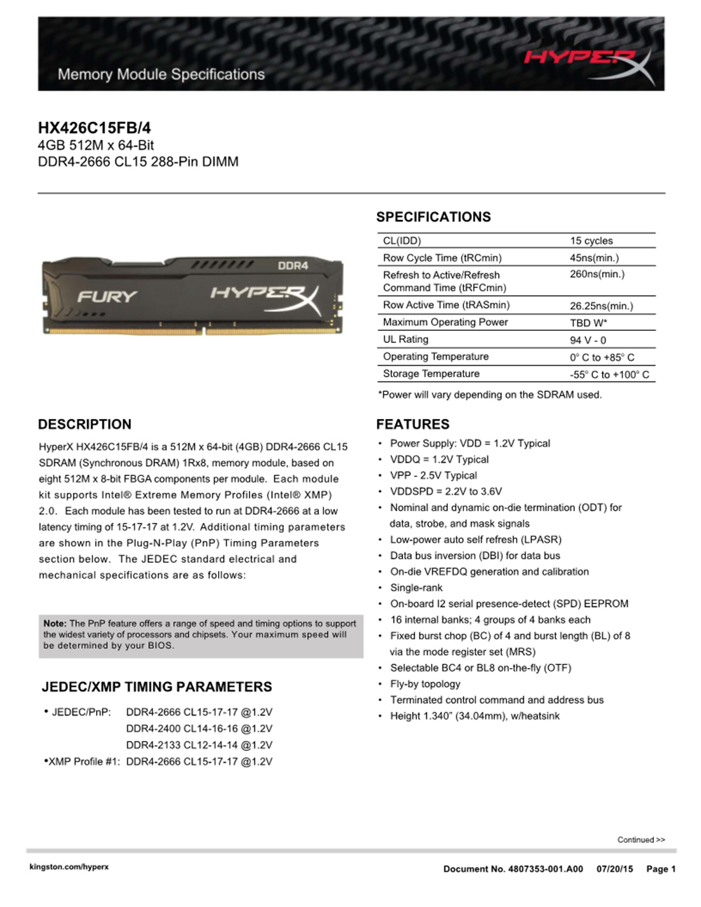 Kingston HyperX FURY DDR4 2666MHz 8GB 2400MHz 16GB 3200MHz Desktop RAM Memory DIMM 288-pin Desktop Internal Memory For Gaming 8