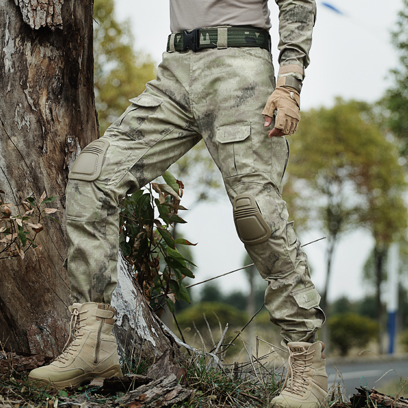 Outdoor Camo Hiking Pants Men Army Combat Hunting Pants With Knee Pads Tactical Military Man Trousers Camping Pantalon Hombre fishing hunting camo hidden tactical pants trousers biomimicry jungle amouflage pants leaves wearable durable camouflage pants
