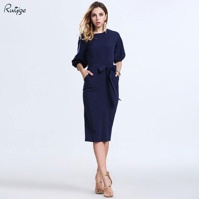2016 новый летний мода женщин сексуальный Bodycon платья элегантный работа бизнес офис o-образным шеи фонарь рукав миди Vestidos L858