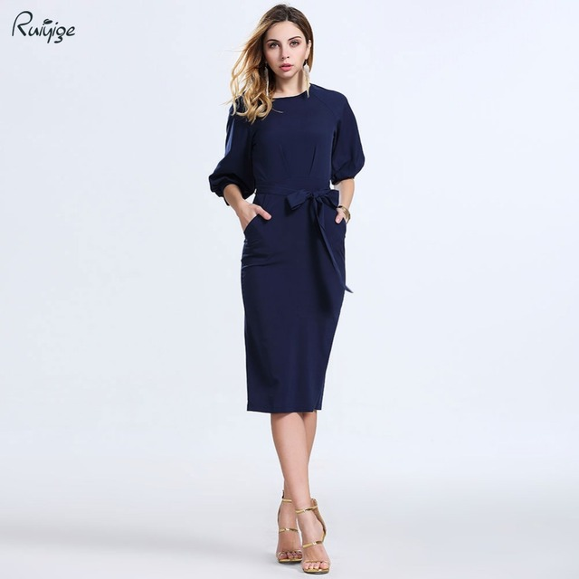 436cf836a4c4 2016 New Summer Fashion Women Sexy Bodycon Dresses Elegant Work Business Office  Dress O-Neck