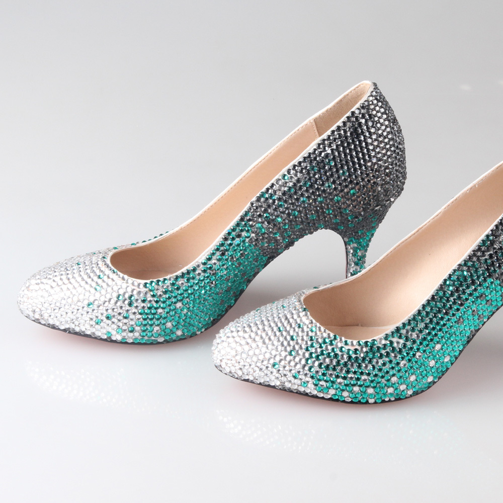 Handmade full rhinestone crystal bridal shoes 3 colors gradient heels wedding party prom pumps silver black green pointed toe