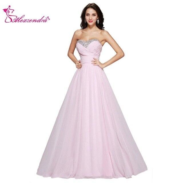 Alexzendra Light Pink Chiffon Sweetheart A Line Prom Dresses 2018