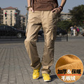 Plus Size Men Autumn Winter Pants Fleece Trousers Cargo Pants Military Style Velvet Pants With Multi Pockets M-3XL 5 Solid Color