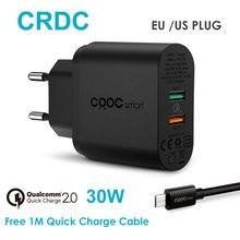 CRDC Quick Charge 2.0 30 วัตต์อะแดปเตอร์ชาร์จโทรศัพท์ USB สำหรับ Xiaomi Samsung Galaxy S8 iPhone โทรศัพท์มือถือแบบพกพา wall Charger