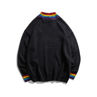 2019 Trend Rainbow Collar Pullover Men's Sweater Winter Loose Style Personality Sweater Men's High Street Sweaters Black White