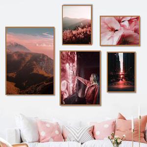 Image 1 - גשר ברוקלין פרח הר נוף קיר אמנות בד ציור נורדי והדפסי קיר תמונות לסלון דקור