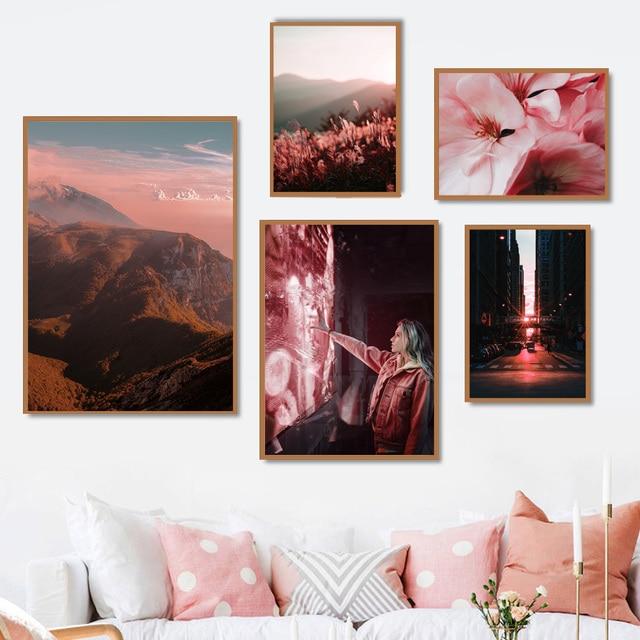 גשר ברוקלין פרח הר נוף קיר אמנות בד ציור נורדי והדפסי קיר תמונות לסלון דקור