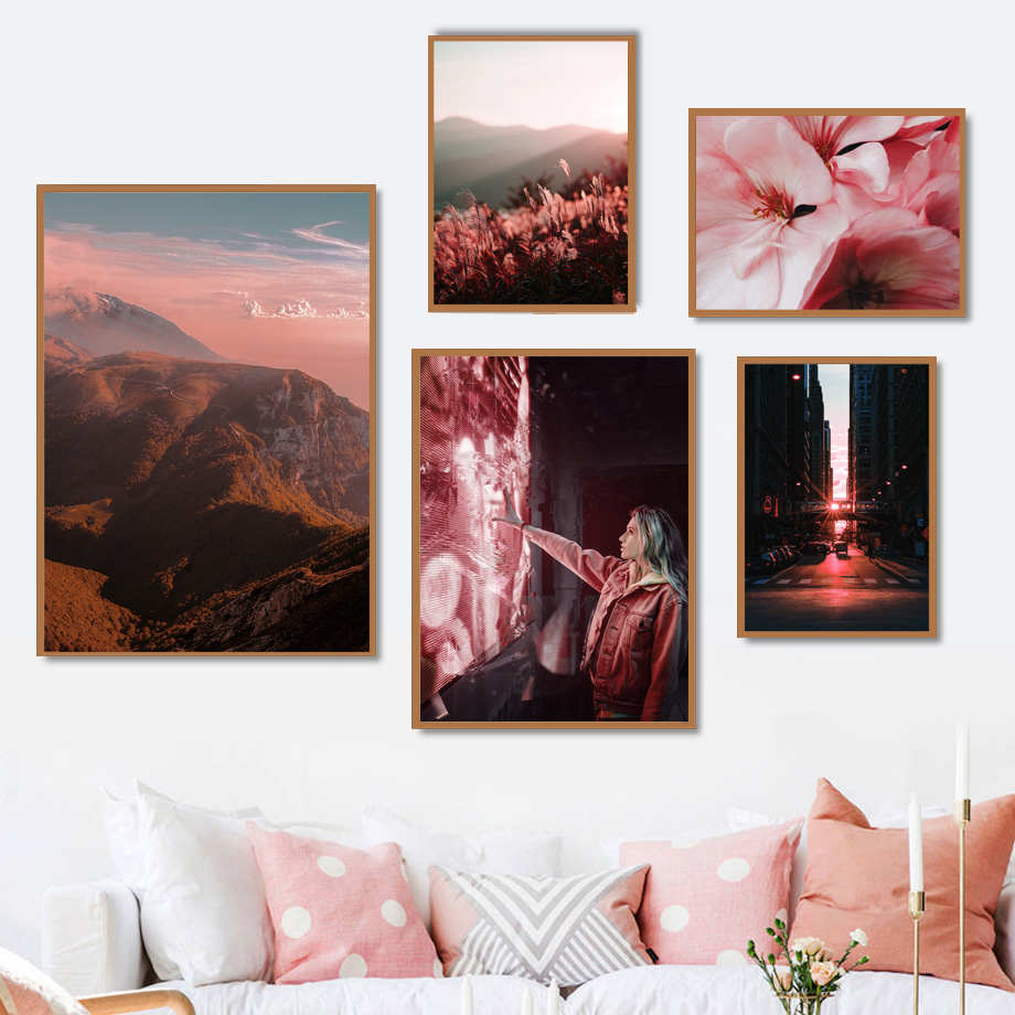 Brooklyn Bridge Mountain Flower Landscape Wall Art Canvas Painting Nordic Posters And Prints Wall Pictures For Living Room Decor-in Painting & Calligraphy from Home & Garden