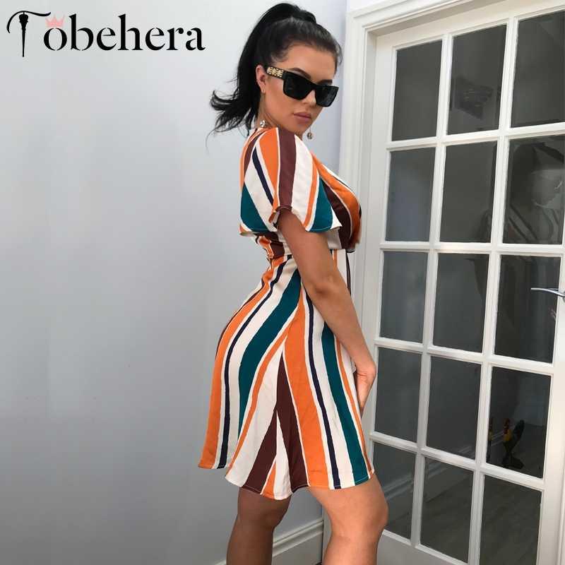 Glamaker V boyun gökkuşağı şerit baskı mini elbise kadın vintage streetwear seksi elbise ofis bayan kısa kollu boho parti elbise