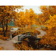 Unframed DIY Oil Painting , Paint By Numbers Kits ,Modern Landscape Autumn  Bridge Tree Canvas Art Wall Mural Picture