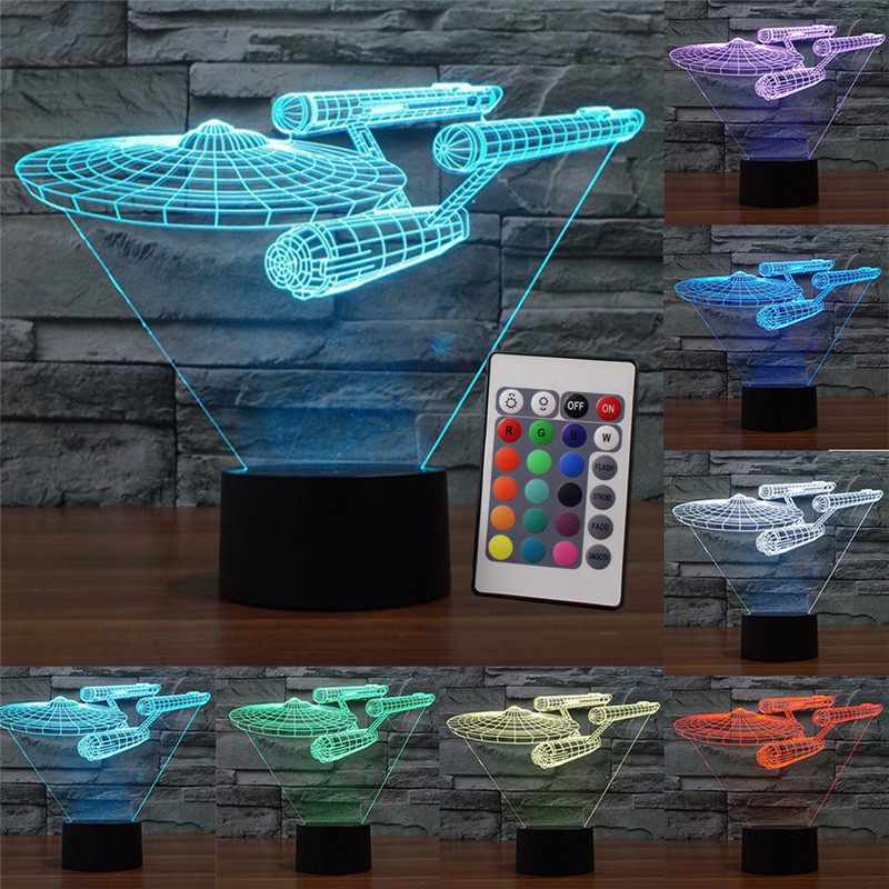 Star Trek Night Light Led Lamp Star Wars USB LED Lighting 7 Colors Luminaria Table Lamp Bedroom Decor Nightlight for Kids Gift avengers hulk led night light 3d lamp luminaria de mesa lighting toy kids room led usb electronic gadget home decor bed light