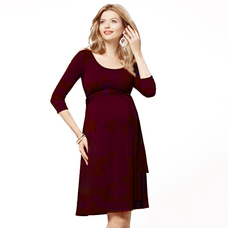 1pc Casual Maternity Dress for Pregnant Women Soft Cotton 3/4 Sleeve Breastfeeding Nursing Dress Pregnancy Clothes Red Color