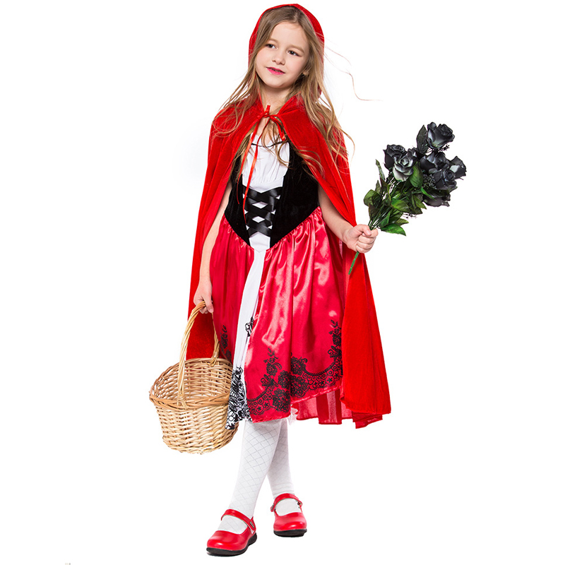 H&ZY Christmas Little Red Riding Hood Costume For Girls Children Kids Fantasia Halloween Party Cosplay Fancy Dress Cloak Cosplay
